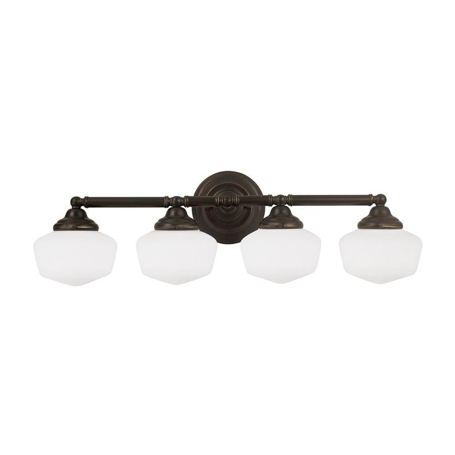 Sea Gull Lighting Academy 4-Light Heirloom Bronze Schoolhouse Vanity Light