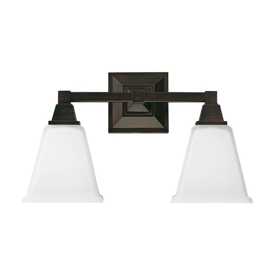 Sea Gull Lighting Denhelm 2-Light 10-in Burnt sienna Bell Vanity Light