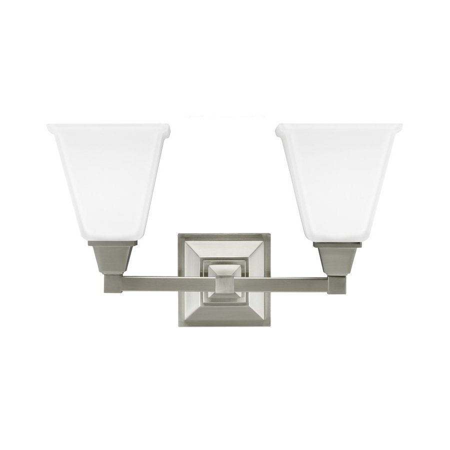 Sea Gull Lighting Denhelm 2-Light Brushed Nickel Bell Vanity Light