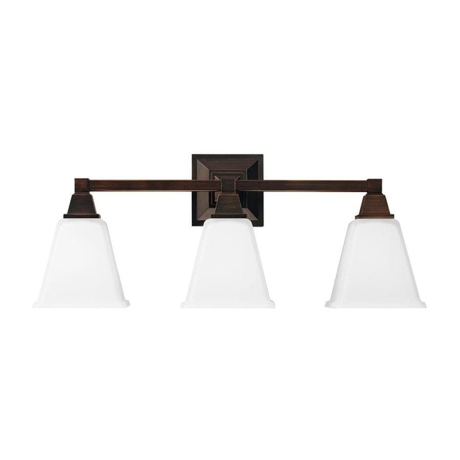 Vanity Lights Not Hardwired : Shop Sea Gull Lighting Denhelm 3-Light Burnt Sienna Bell Vanity Light at Lowes.com