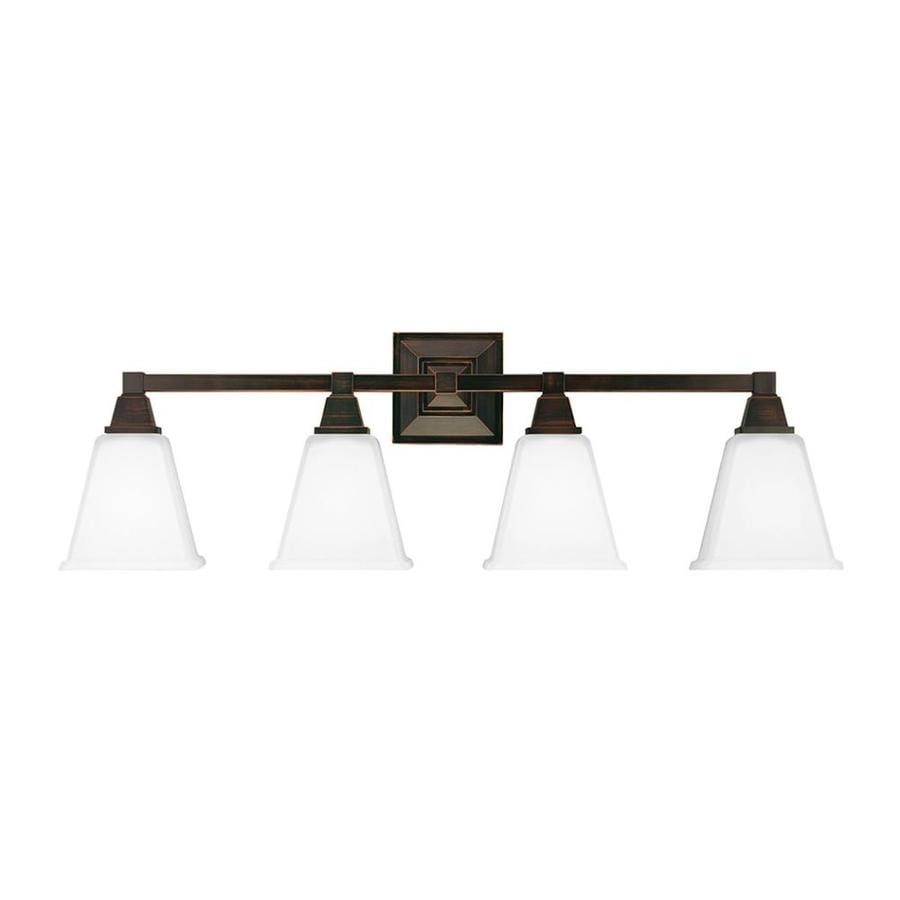 Sea Gull Lighting Denhelm 4-Light 10-in Burnt sienna Bell Vanity Light