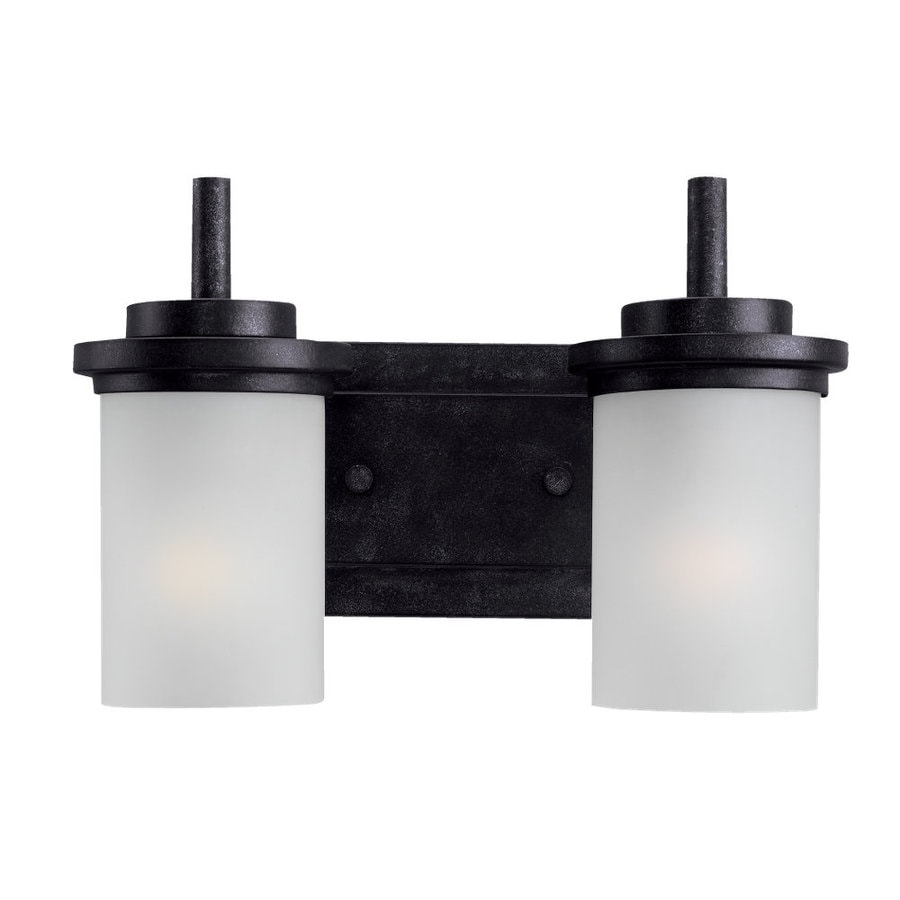 Sea Gull Lighting Winnetka 2-Light Blacksmith Cylinder Vanity Light