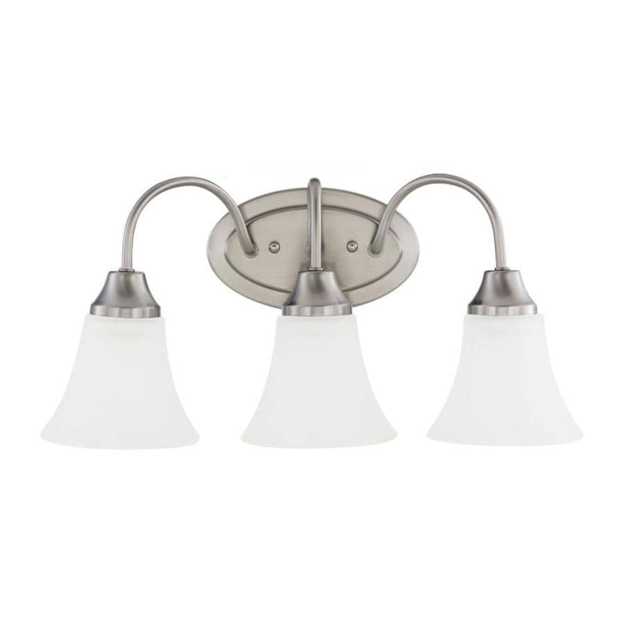 Shop sea gull lighting holman 3 light 18 in brushed nickel bell vanity light at for Brushed nickel bathroom lighting fixtures