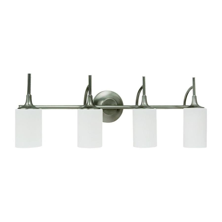 Sea Gull Lighting Stirling 4-Light 11.125-in Brushed nickel Cylinder Vanity Light