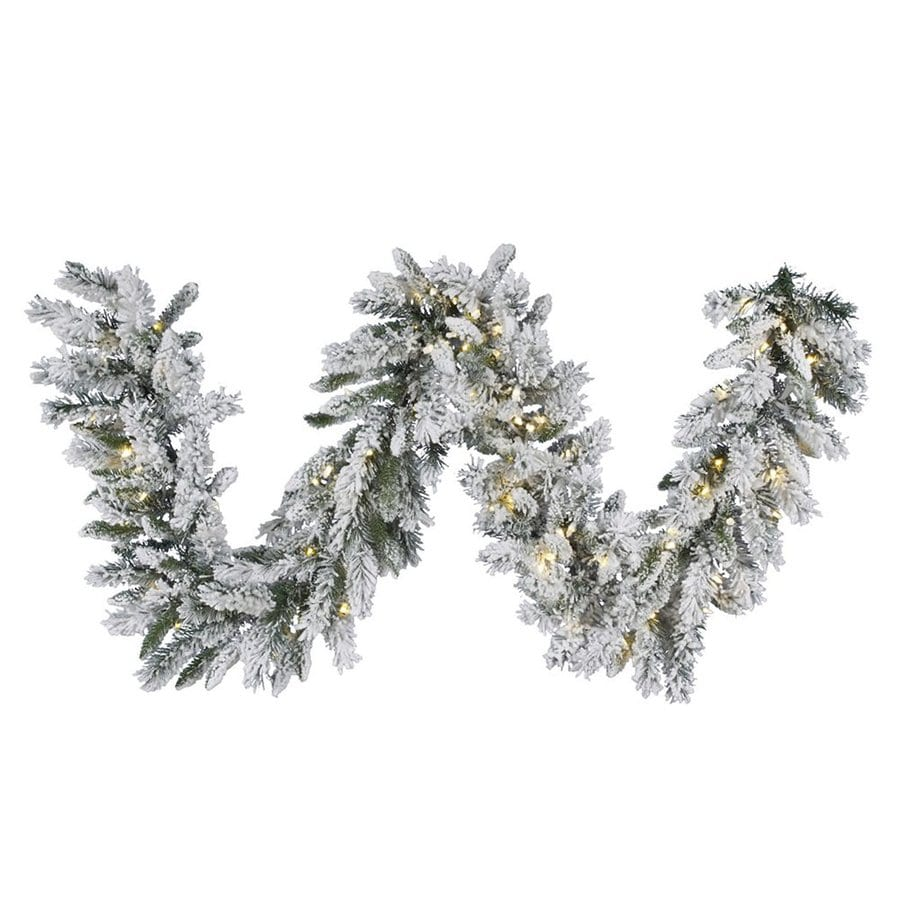 Vickerman Pre-Lit 9-ft L Snow Ridge Garland with White LED Lights