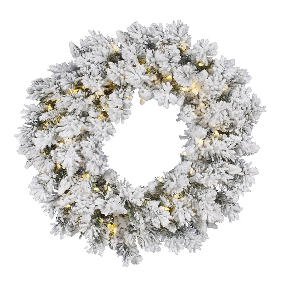 Vickerman Snow Ridge 30-in Pre-Lit Plug-In White/Green Artificial Christmas Wreath with Warm White LED Lights