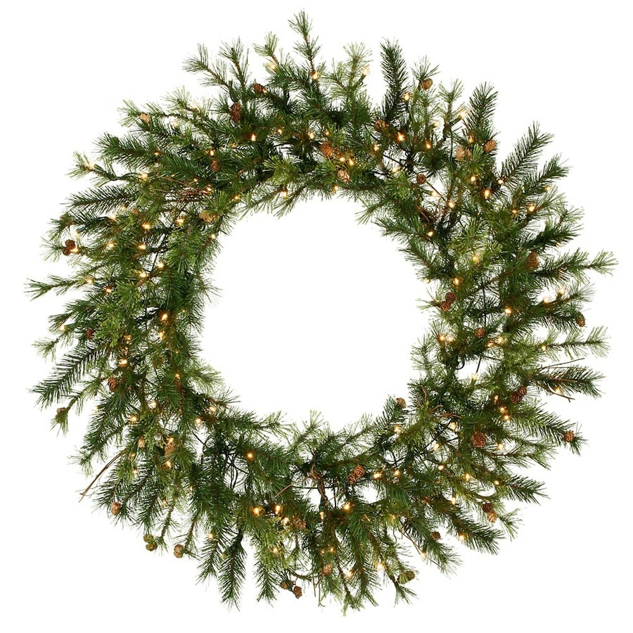 Vickerman 60-in Pre-Lit Plug-In Green Pine Artificial Christmas Wreath with White Clear Incandescent Lights