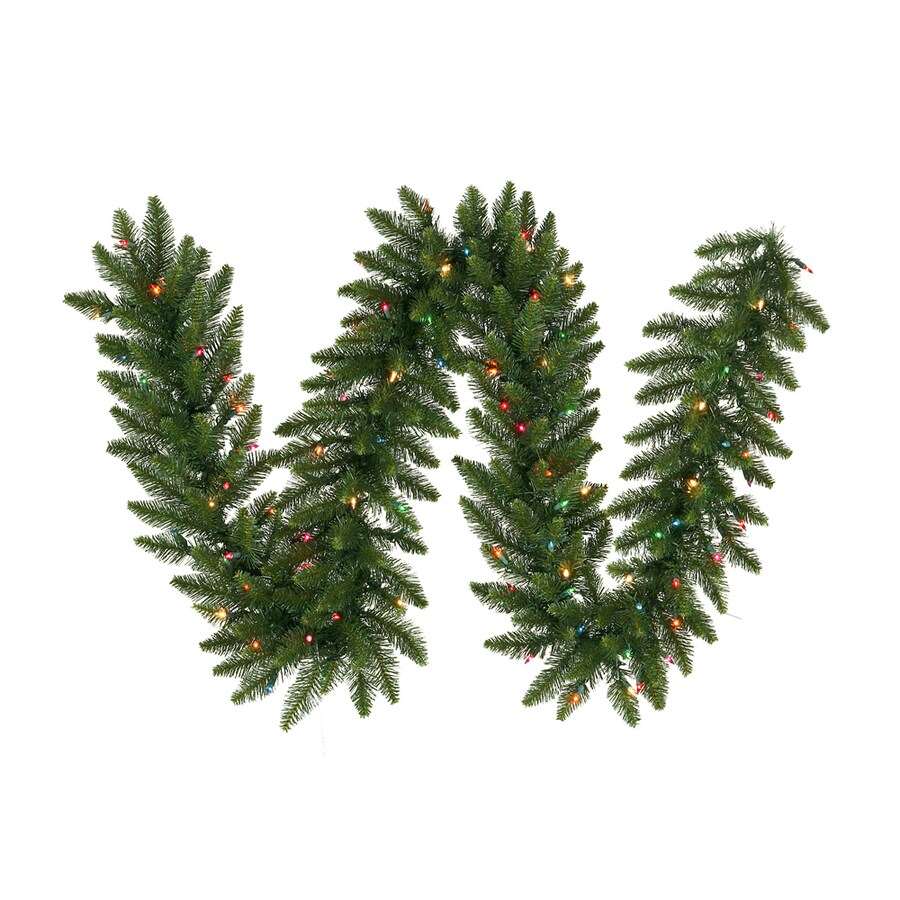Vickerman Pre-Lit 9-ft L Camden Fir Garland with Multicolor Incandescent Lights
