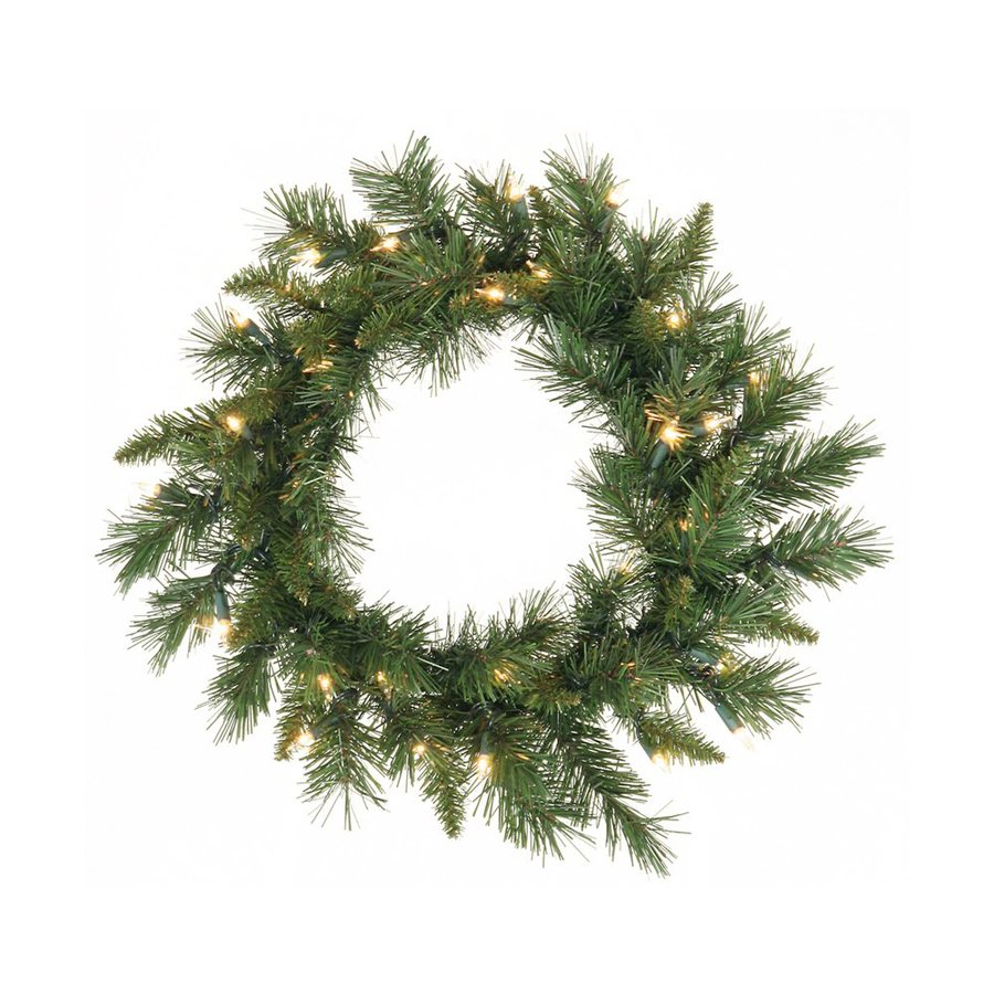 Vickerman 24-in Pre-lit Indoor Electrical Outlet Green Imperial Pine Artificial Christmas Wreath with White Clear Incandescent Lights