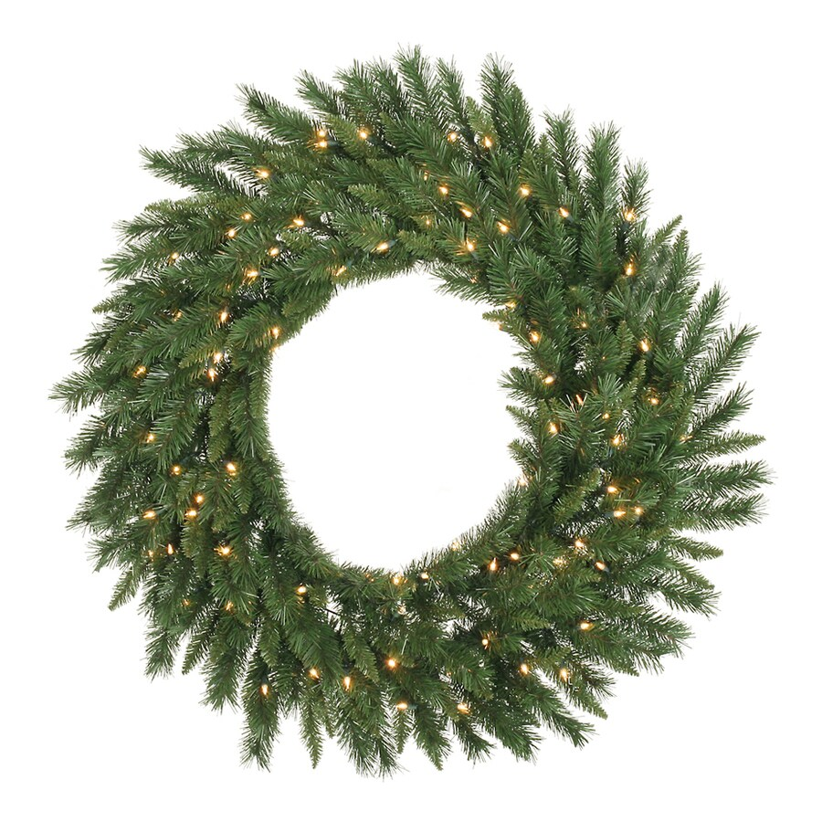 Vickerman 48-in Pre-lit Indoor Electrical Outlet Green Imperial Pine Artificial Christmas Wreath with White Warm White LED Lights