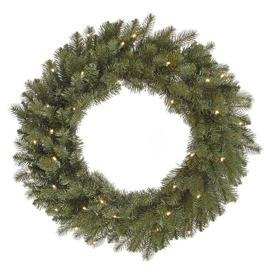 Vickerman 24-in Pre-Lit Plug-In Green Colorado Spruce Artificial Christmas Wreath with Warm White LED Lights