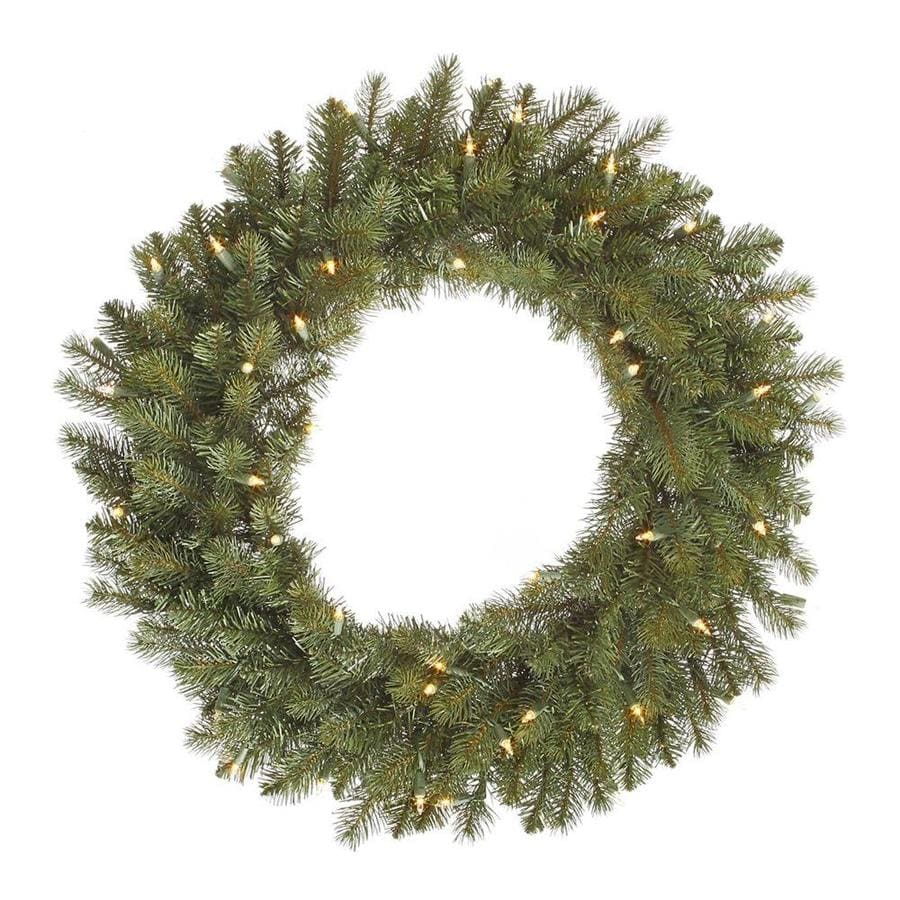 Vickerman 30-in Pre-lit Indoor Electrical Outlet Green Colorado Spruce Artificial Christmas Wreath with White Warm White LED Lights