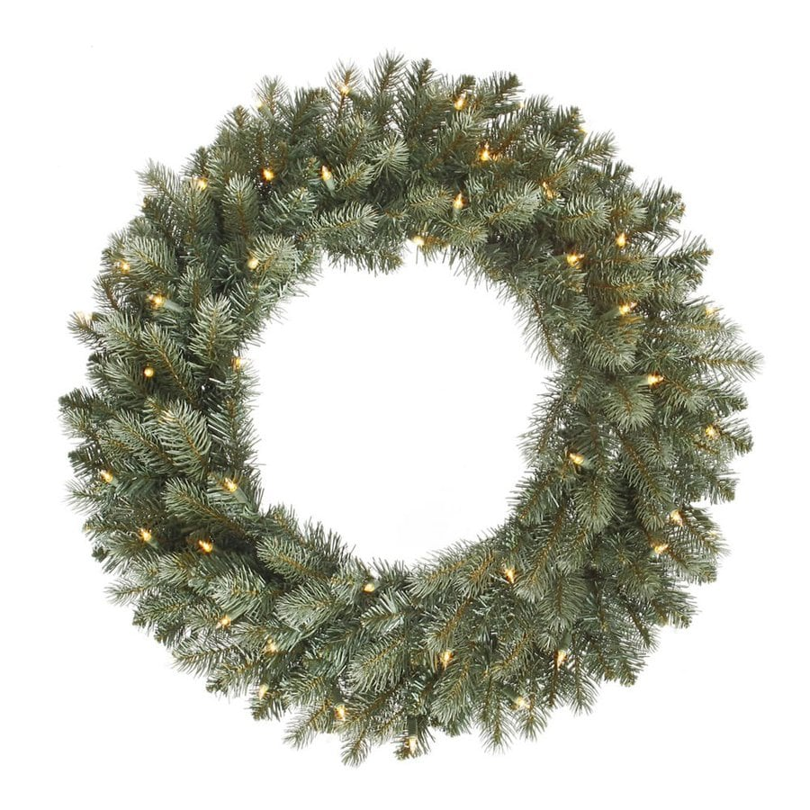 Vickerman 24-in Pre-Lit Colorado Spruce Artificial Christmas Wreath with White Clear Incandescent Lights