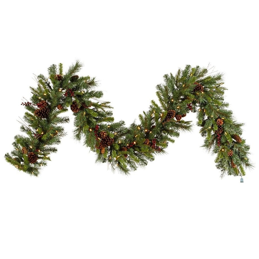 Vickerman 14-in x 9-ft Pre-Lit Berry Artificial Christmas Garland with White LED Lights