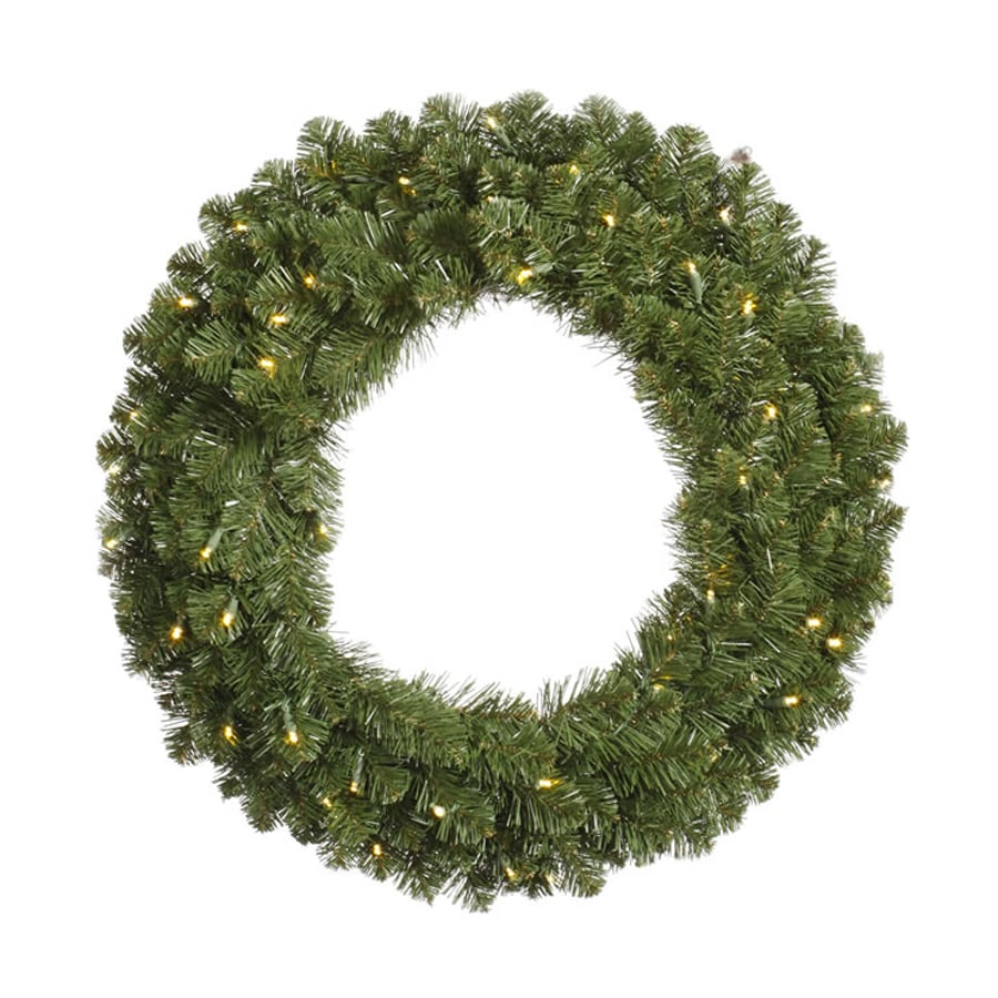 Vickerman 60-in Pre-Lit Plug-In Green Grand Teton Artificial Christmas Wreath with White Clear Incandescent Lights