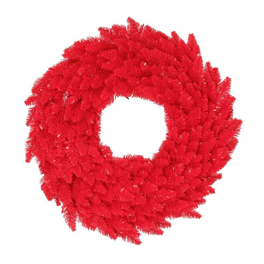 Vickerman 24-in Pre-Lit Red Artificial Christmas Wreath with Red Incandescent Lights