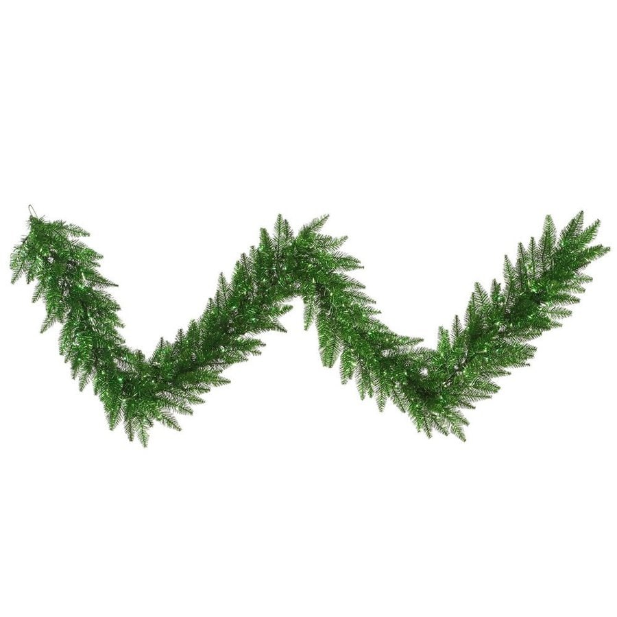 Vickerman Pre-Lit 9-ft L Tinsel Garland with Green Incandescent Lights