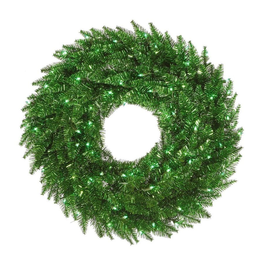 Vickerman 24-in Pre-Lit Plug-In Green Tinsel Artificial Christmas Wreath with Green Incandescent Lights