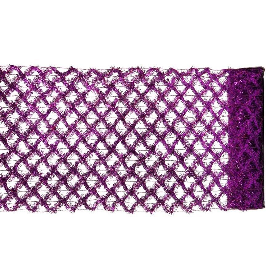 Vickerman 12-in W x 30-ft L Purple Mesh Ribbon