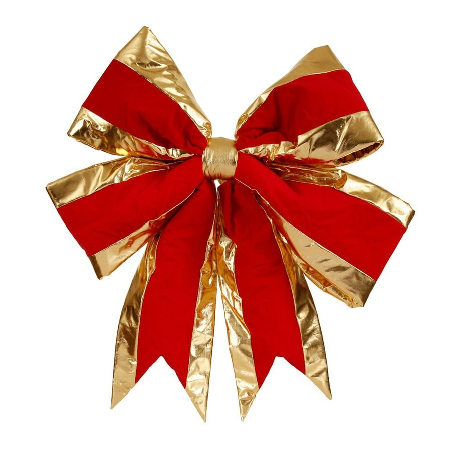 Vickerman 30-in Red Structured Gold Bordered Bow