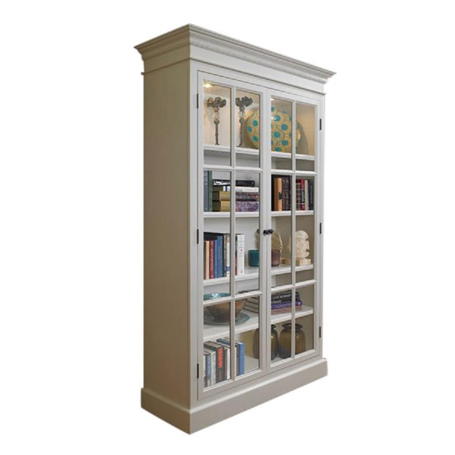 A&E Wood Design French Restoration Pearl White Rectangular Curio Cabinet