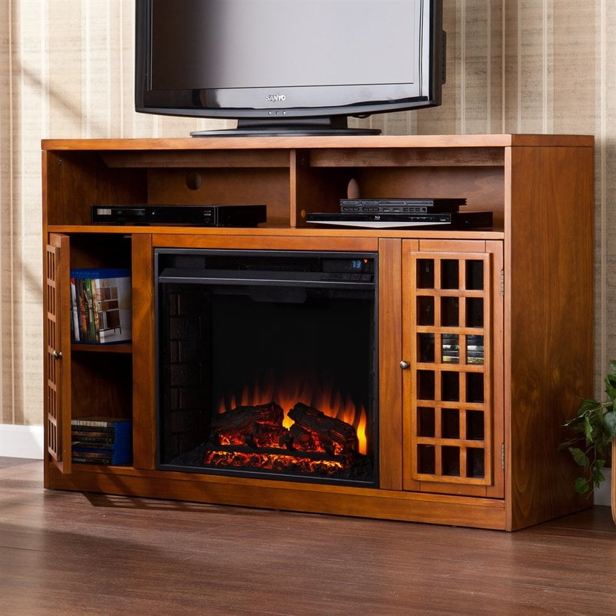 Boston Loft Furnishings 48-in W 4700-BTU Pine Wood Fan-Forced Electric Fireplace with Thermostat with Remote Control