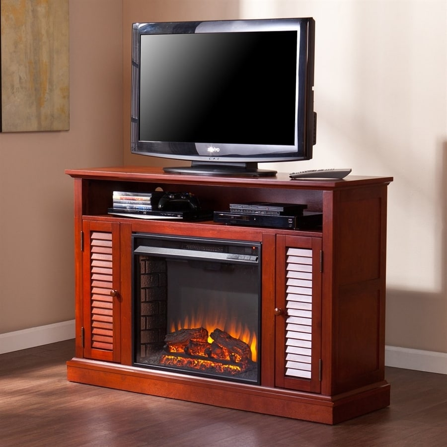 Boston Loft Furnishings 47.75-in W 4700-BTU Classic Mahogany Wood and Metal Fan-Forced Electric Fireplace with Thermostat and Remote Control