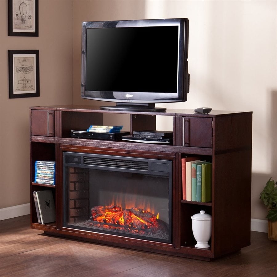 Boston Loft Furnishings 56-in W 4700-BTU Espresso Wood and Metal Fan-Forced Electric Fireplace with Thermostat and Remote Control