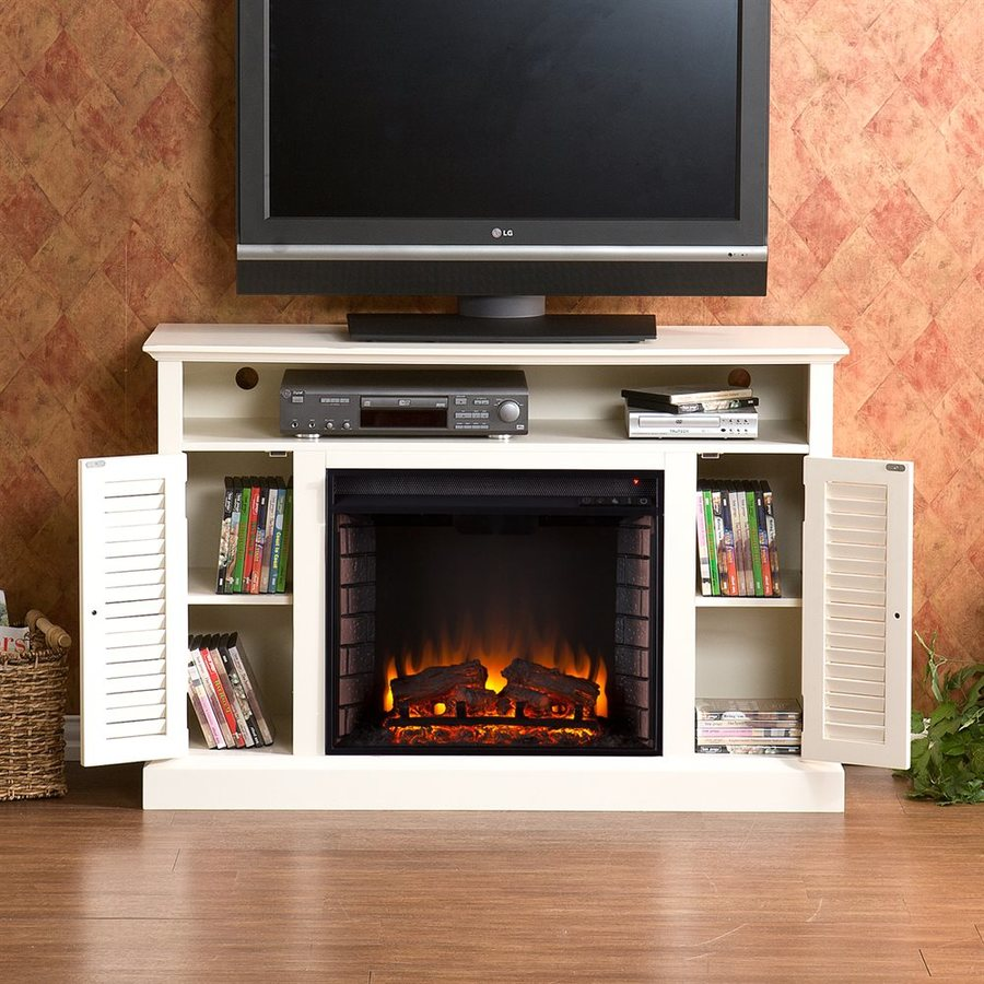 Shop boston loft furnishings 48-in w 4700-btu antique white wood and wood veneer fan-forced electric fireplace with thermostat and remote control in the electric fireplaces section of Lowes.com