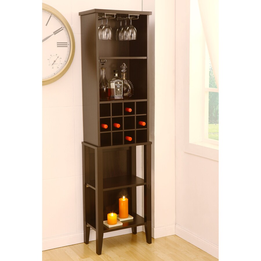 Enitial Lab 12-Bottle Dark Espresso Freestanding Floor Wine Rack