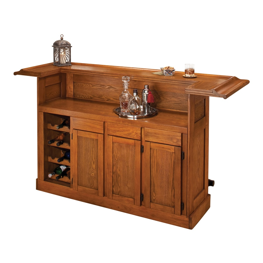 Shop hillsdale furniture classic 78 in x oak composite rectangle standard bar at Home pub bar furniture