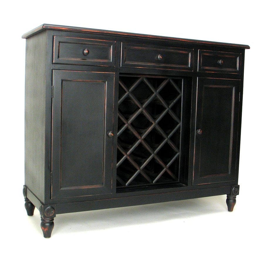 Wayborn Furniture Sideboard Black Pine Wine Storage at Lowes com