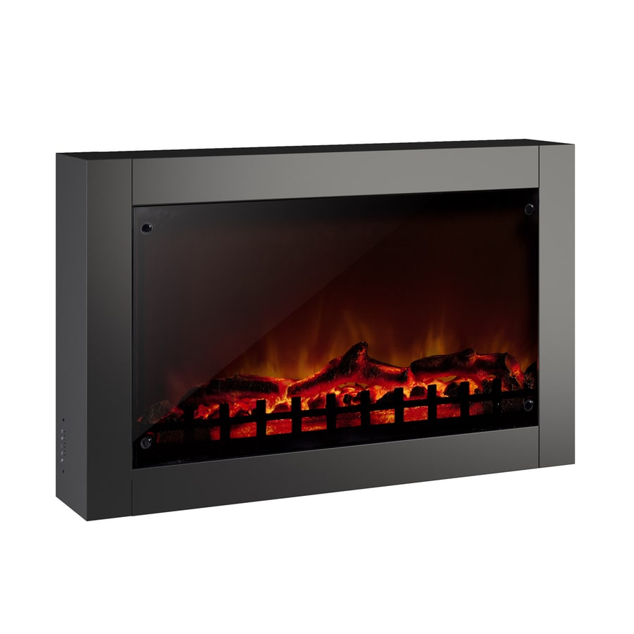 CorLiving 30.75-in W 5000-BTU Black Metal Wall Mount Electric Fireplace with Thermostat and Remote Control