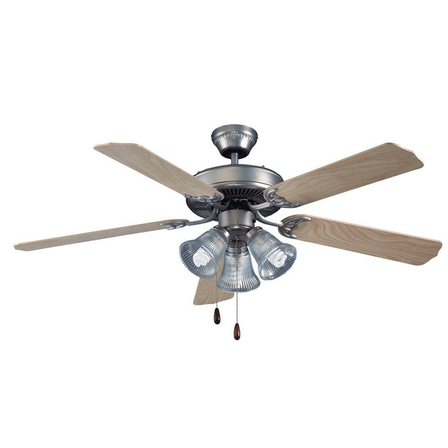 Royal Pacific Royal Star 52-in Brushed Pewter Downrod or Close Mount Indoor Ceiling Fan with Light Kit (5-Blade) ENERGY STAR