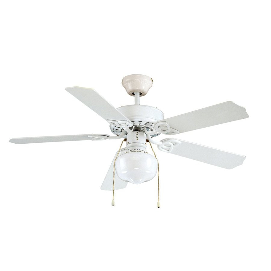 Royal Pacific Royal Knight 42-in White Downrod or Close Mount Indoor Ceiling Fan with Light Kit (5-Blade)