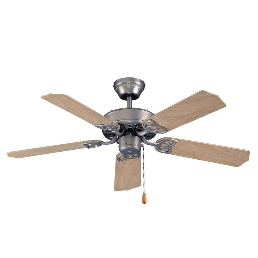 Royal Pacific Royal Knight 42-in Brushed Pewter Downrod or Close Mount Indoor Ceiling Fan (5-Blade)