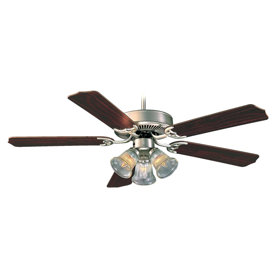 Royal Pacific Royal Knight 52-in Brushed Pewter Downrod or Close Mount Indoor Ceiling Fan with Light Kit (5-Blade)