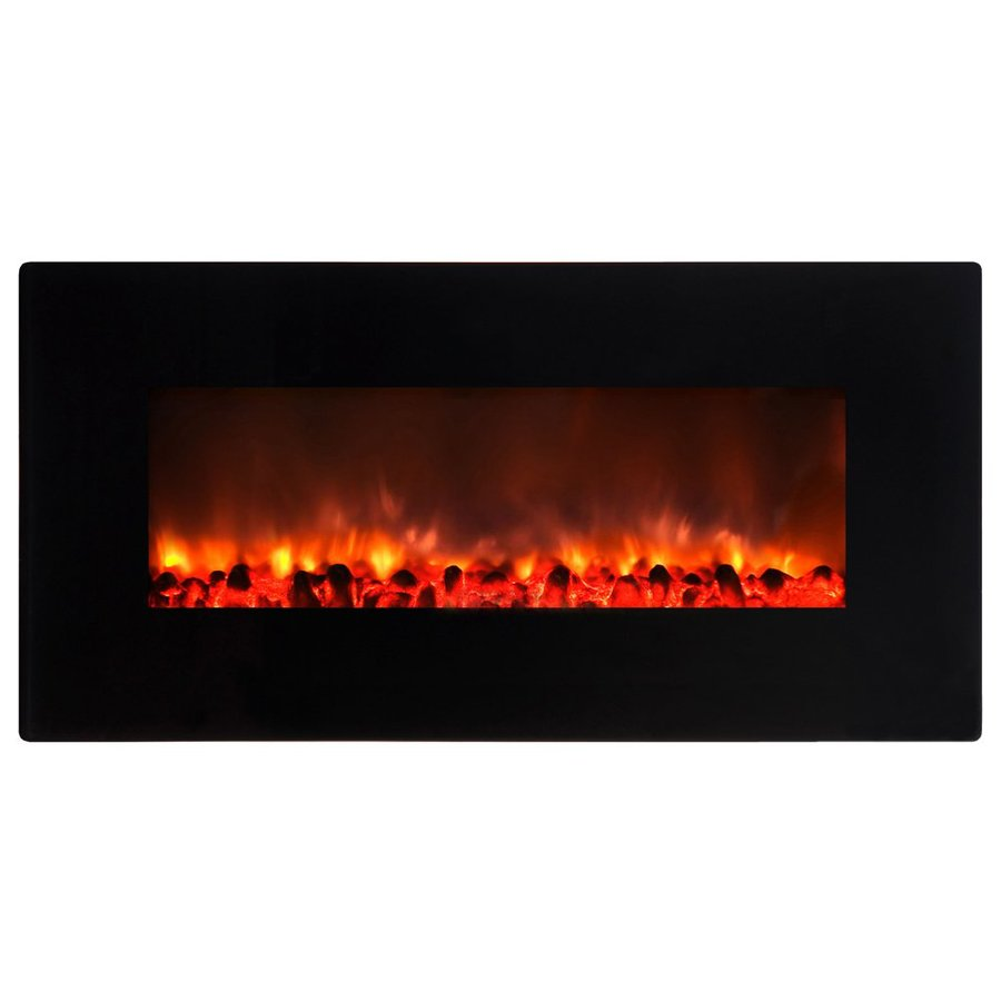 Yosemite Home Decor 35.5-in W 5000-BTU Black Gloss Metal Wall-Mount Electric Fireplace with Remote Control