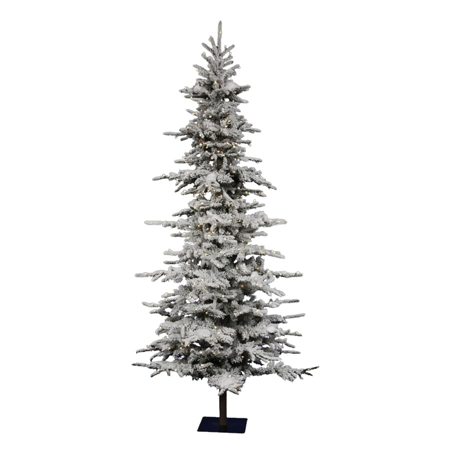 Vickerman 7-ft 6-in 1,075-Tip Pre-Lit Georgian Fir Slim Flocked Artificial Christmas Tree with 550 Clear White Incandescent Lights