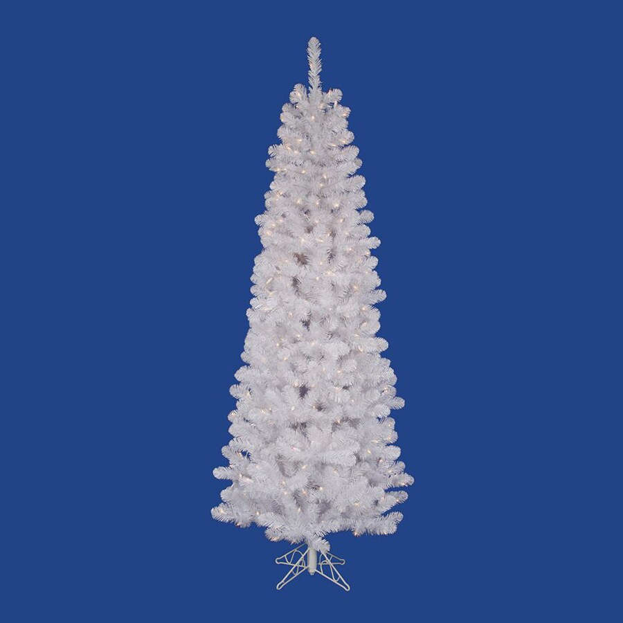 Vickerman 8.5-ft 877-Count Pre-lit Slim Artificial Christmas Tree with Constant 360 White Warm White LED Lights