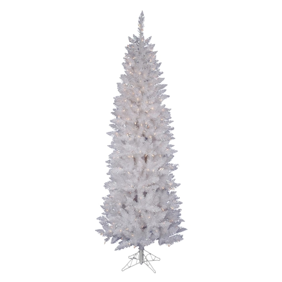 Vickerman 9-ft 982-Count Pre-lit White Spruce Slim Artificial Christmas Tree with Constant 450 White Pure White LED Lights
