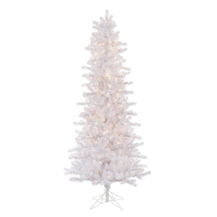 Vickerman 7.5-ft Pre-Lit Pine Slim Artificial Christmas Tree with White Incandescent Lights