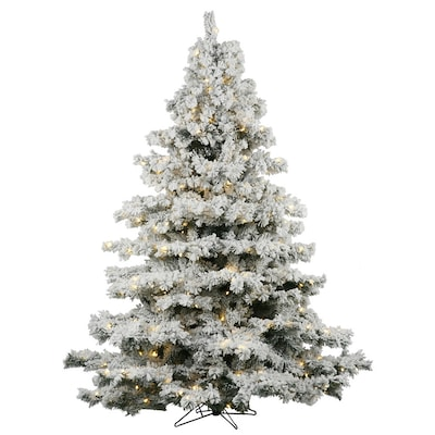 Flocked Pre Lit Christmas Tree.6 5 Ft Pre Lit Alaskan Pine Flocked Artificial Christmas Tree With 600 Constant White Clear Incandescent Lights