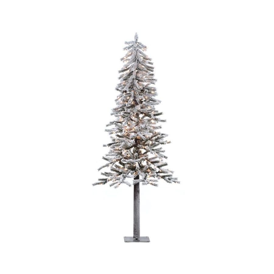 Shop Vickerman 7-ft Pre-lit Alpine Slim Flocked Artificial Christmas ...