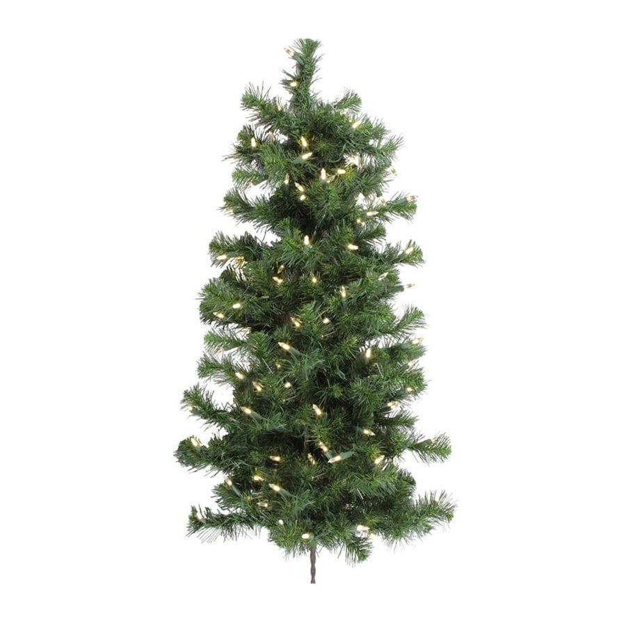 Vickerman 3-ft Pre-lit Douglas Fir Slim Artificial Christmas Tree with 100 Constant Clear White Incandescent Lights