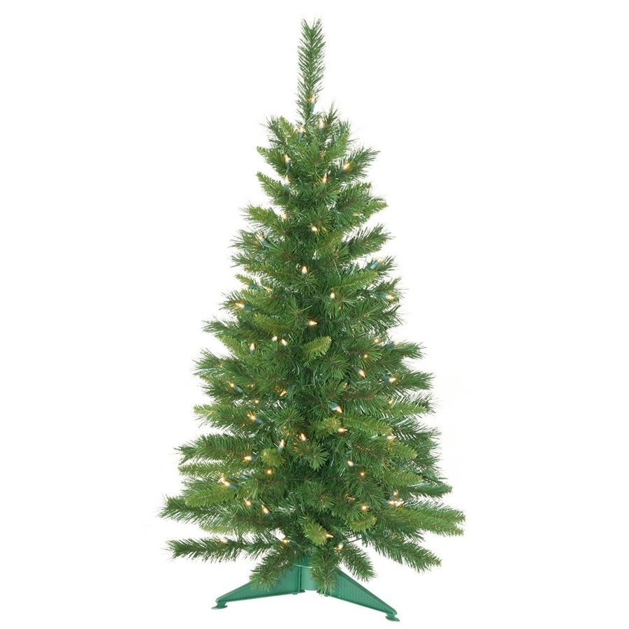 Vickerman 3.5-ft 173-Count Pre-lit Imperial Pine Artificial Christmas Tree with Constant 150 White Clear Incandescent Lights