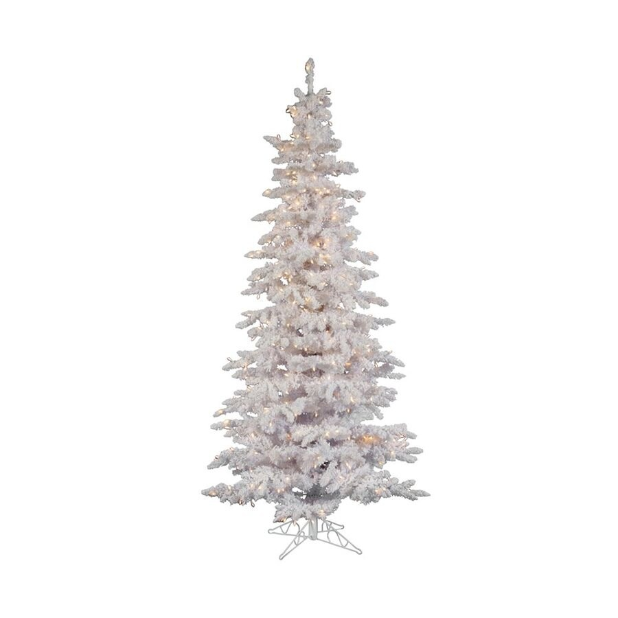 Shop Vickerman 6.5-ft Pre-lit White Spruce Flocked Artificial ...