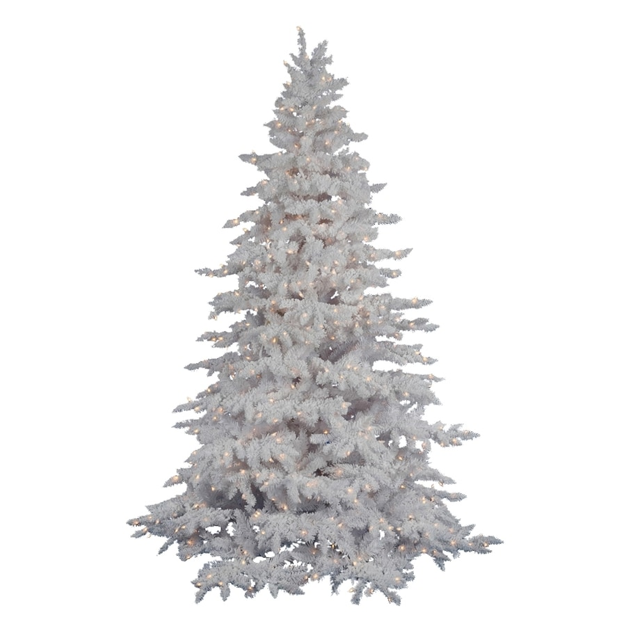 Vickerman 4-ft 6-in 498-Tip Pre-Lit White Spruce Flocked Artificial Christmas Tree with 250 Clear White Incandescent Lights