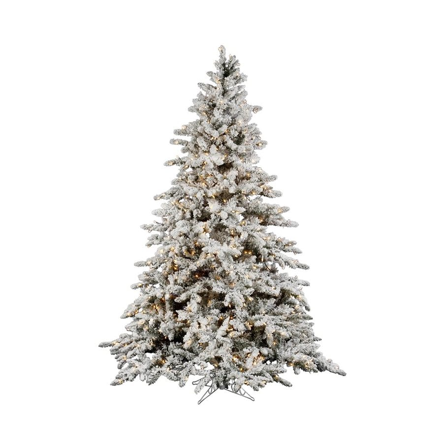 Vickerman 4.5-ft Pre-Lit Utica Fir Flocked Artificial Christmas Tree with White Clear Incandescent Lights