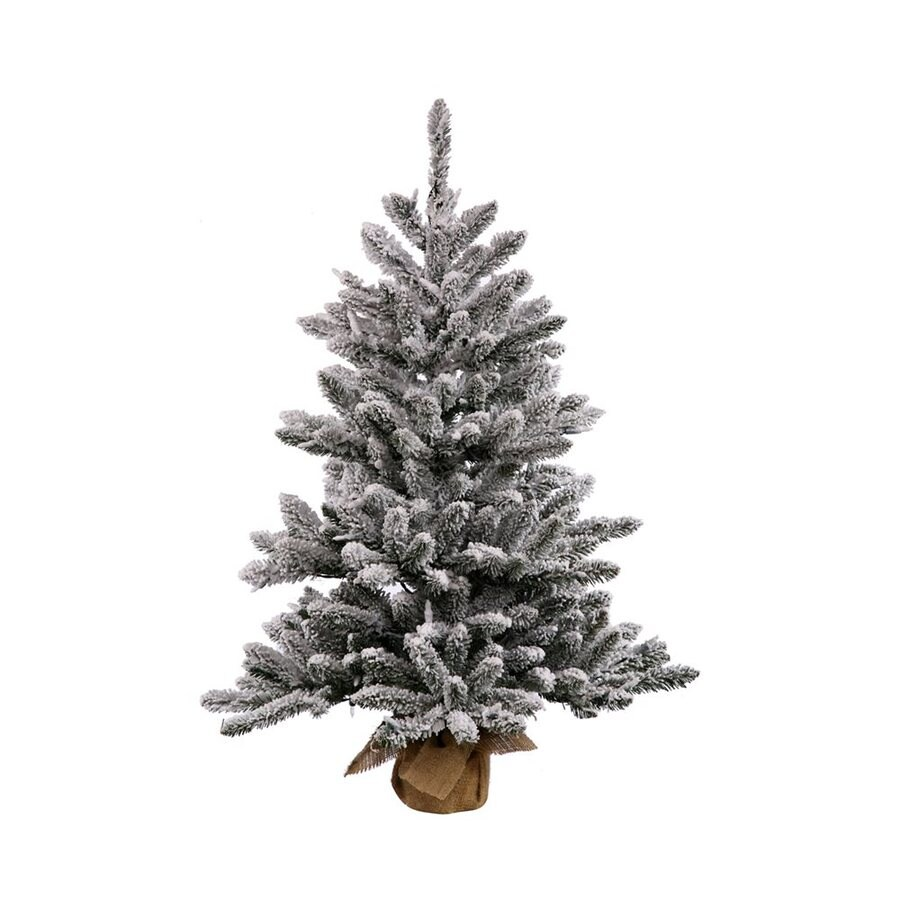 Shop Vickerman 2-ft Pre-Lit Pine Flocked Artificial Christmas Tree ...
